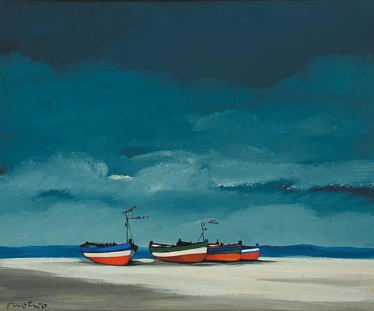 Enotrio Pugliese (1920-1989) Spiaggia olio su
