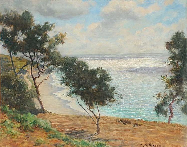 Carlo Pollonera (1849-1923) Veduta costiera olio