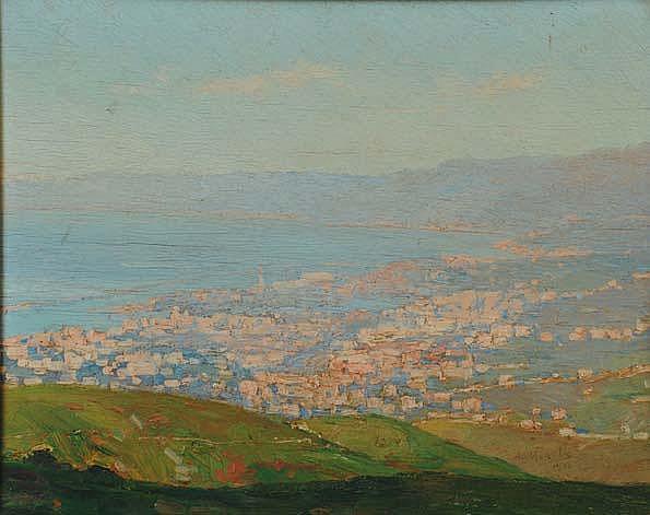Amedeo Merello (1890-1979) Panorama di Genova dal
