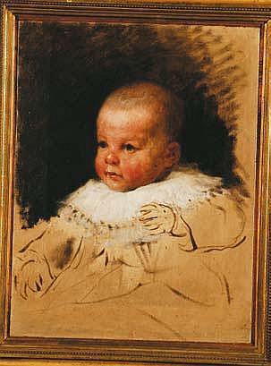 Nicolo Barabino (1832-1891) Studio di neonato olio
