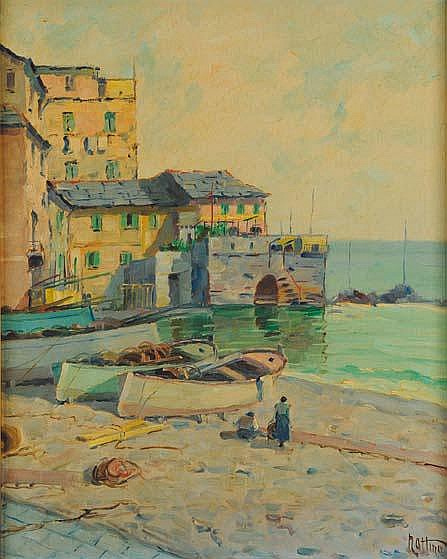 Vittorio Nattino (1890-1971) Boccadasse olio su
