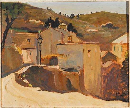 Arturo De Luca (1885-1971) Paesaggio ligure olio
