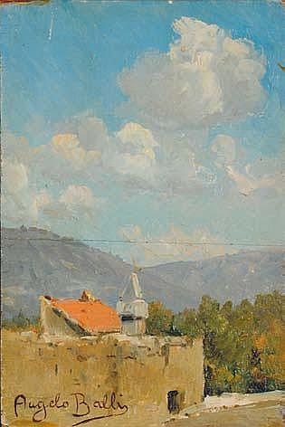 Angelo Balbi (1872-1939) Paesaggio olio su