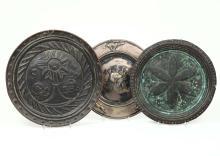 Tre elemosinieri in rame diversi, XVII-XVIII secolo,