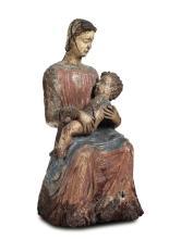 Madonna con Bambino in legno scolpito e dipinto, scultore rinascimentale attivo in Italia centrale tra il XV-XVI secolo,