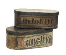 Lotto di due scatole da farmacia in legno dipinto, XVIII-XIX secolo,