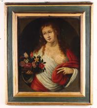 Scuola del XVII secolo, Coppia di ritratti femminili