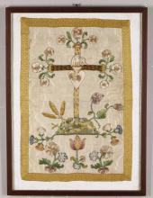 Antico ricamo raffigurante croce e motivi floreali, XVIII-XIX secolo,