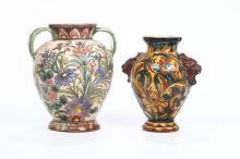 Due vasi biansati in ceramica, decoro floreale in policromia, manifattura del Monte sa Savino, anni 20-30 del '900,