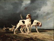 Joseph Francis Walker (attivo 1865 - 1890), Hounds in landscape