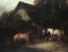 Thomas Smythe (1825 - 1907), Resting horses near the farm