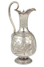 An embossed and chiselled silver jug, Copenhagen 1891