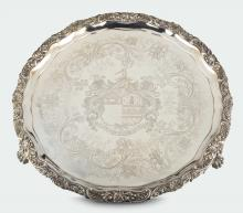 A large molten, embossed and chiselled silver salver, silversmith Benjamin Smith, London 1819