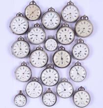 Lotto di venti orologi da tasca in argento, XIX-XX secolo,
