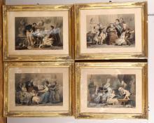 Lotto di quattro stampe raffiguranti allegorie della scultura, della poesia, della musica e della pittura, XIX-XX secolo,