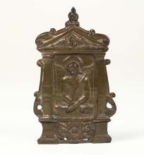 """Pace con """"Ecce Homo"""" in bronzo fuso a cera persa.  Veneto, XV-XVI secolo,"""
