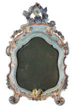 Coppia di specchiere da tavolo sagomate in legno laccato, Venezia, XIX secolo,