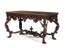 Tavolo in legno intagliato, XIX secolo,