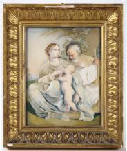 Ricamo in seta, XVII secolo, Madonna con Bambino e San Giuseppe
