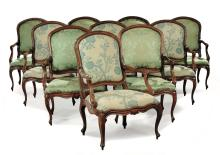 Ten Louis XV style walnut armchairs, Genoa, 18th century