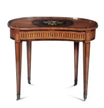 A half-moon shaped table, veneered and inlaid in walnut, bois de rose and violet wood, ebony, boxwood and other precious woods, Piedmont, late 18th century, likely the work of Giovanni Battista Galletti (Venaria Reale 1735, Turin 1819)