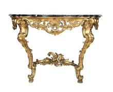Consolle Luigi XV a goccia in legno intagliato e dorato, XIX secolo,