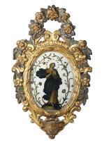 Acquasantiera in legno intagliato, dipinto e dorato, XVIII secolo,