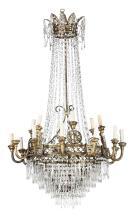 Grande lampadario in bronzo e cristalli in stile Luigi XIV, XIX secolo,