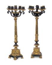 Coppia di candelabri a sei luci in bronzo e bronzo dorato, XIX secolo,