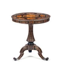 Tavolino in legno ebanizzato e finemente intarsiato in essenze pregiate, Napoli XIX secolo,