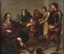 Scuola genovese del XVIII secolo, Scena di genere con personaggio in armatura