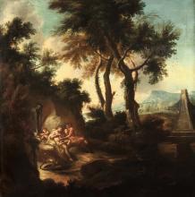 Scuola veneta del XVIII secolo, Paesaggio con scena allegorica