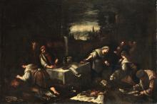 Jacopo da Ponte detto Bassano (1510/18-1592), scuola di, Scena di mercato