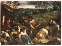 Jacopo da Ponte detto Bassano (1510/18-1592), scuola di, Scena campestre con contadini e animali