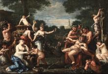 Scuola romana del XVIII secolo, Scena mitologica raffigurante Baccanale
