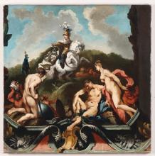 Scuola nord europea del XVIII secolo, Scena allegorica con trionfo di cavaliere