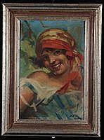 Mattia Traverso (1885-1956)Ritrattoolio su tela,