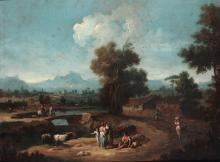 Giuseppe Zais (Forno di Canale 1709 - Treviso 1784), Paesaggi con figure