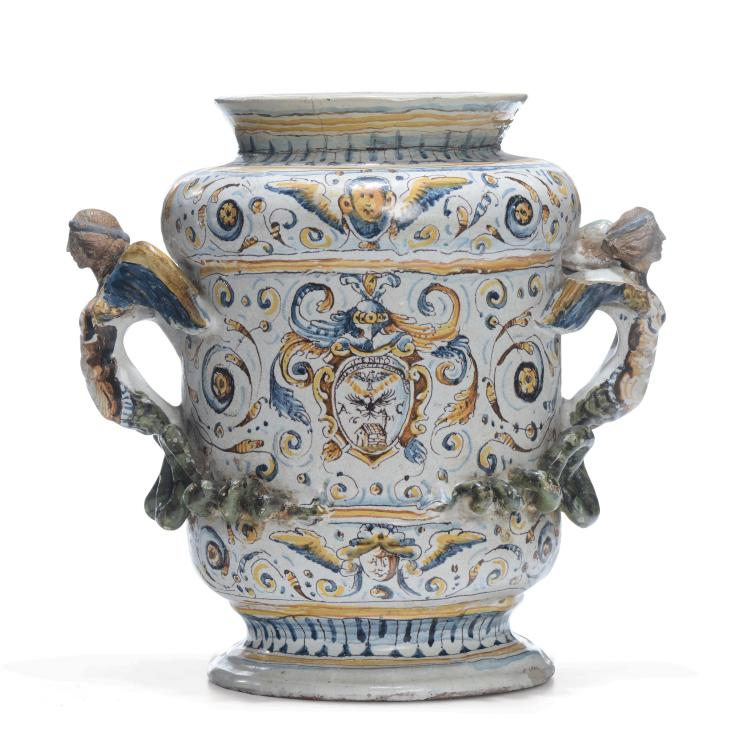 A great double handled albarello vase, Faenza, 1601