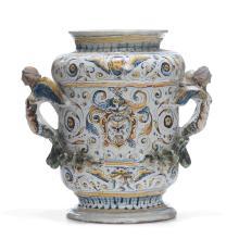 A great double handled albarello vase, Faenza, 1601