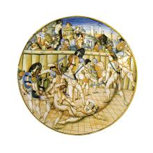 A plate, Urbino, Patanazzi, The performance of two gladiators