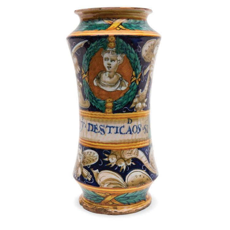 An albarello vase, Casteldurante, mid 16th century