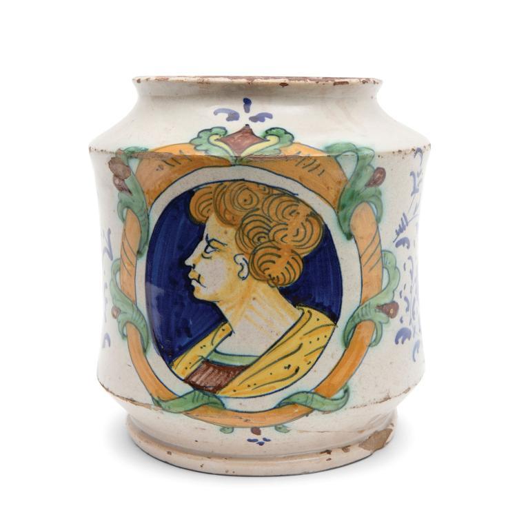 An albarello vase, Montelupo, mid 16th century