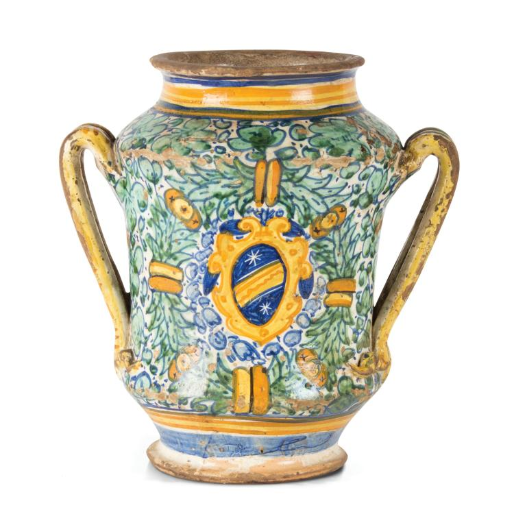 A double handled albarello vase, central Italy (probably Deruta), mid 16th century