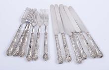 Sei forchette e sei coltelli in argento, XX secolo,