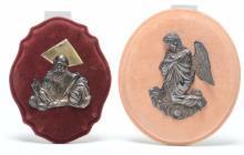 Due bassorilievi in argento raffiguranti Angelo e Dio Padre,