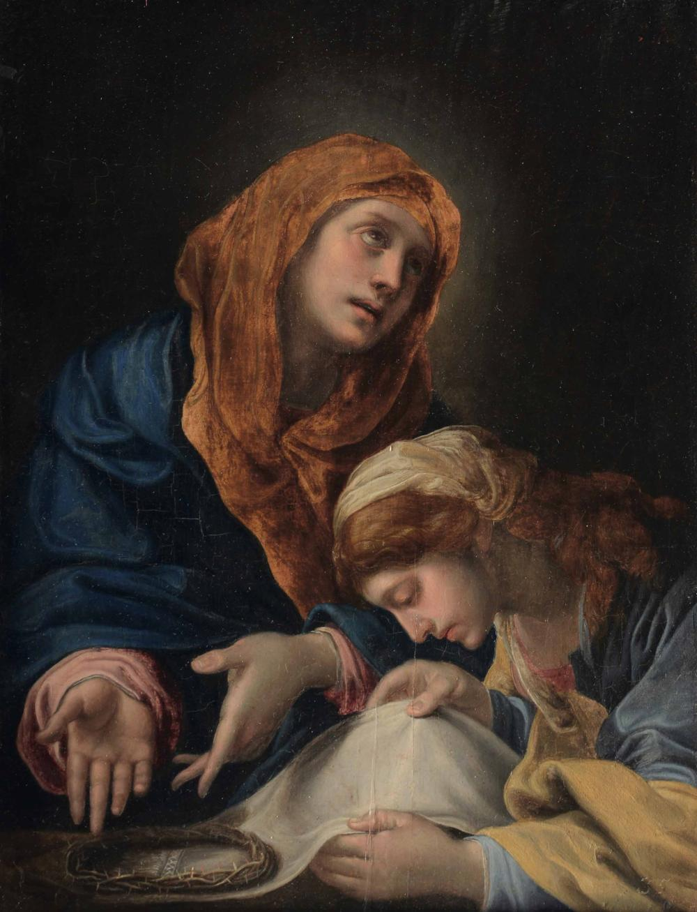 Alessandro Tiarini (Bologna 1577-1668), La Madonna addolorata mostra la corona di spine a santa Veronica