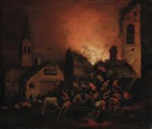Adriaen Lievensz van der Poel (Delft 1628 - Leida 1671), attribuito a, Incendio