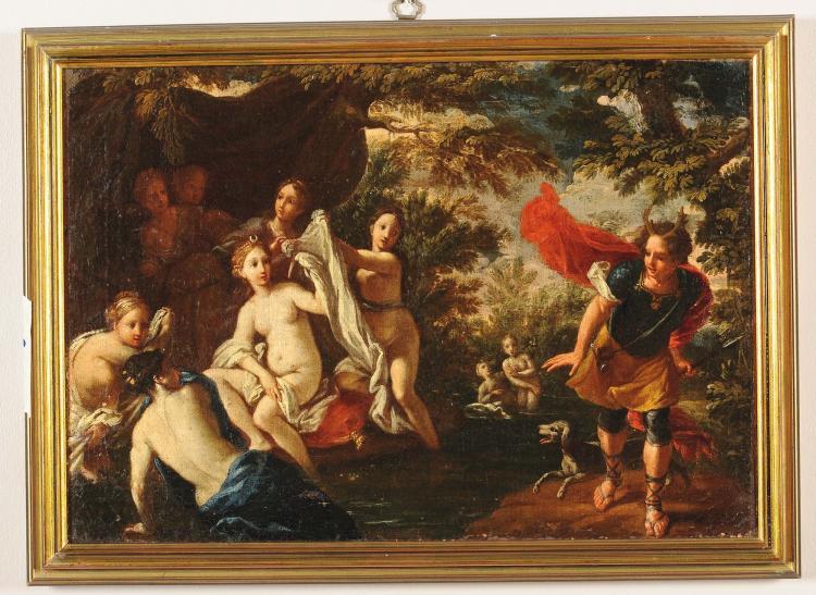 Scuola del xviii secolo bozzetto raffigurante donne al bagn - Ragazze nude in bagno ...