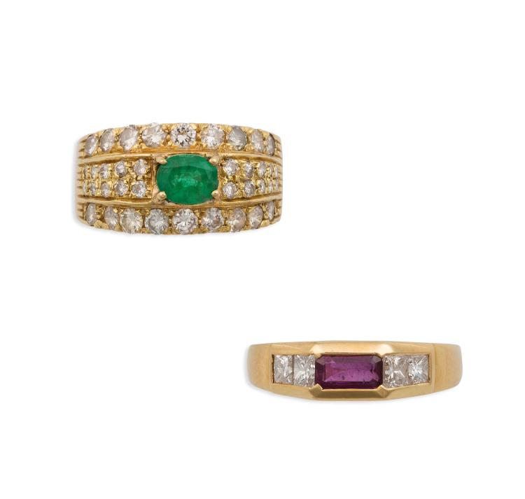 two emerald and ruby rings